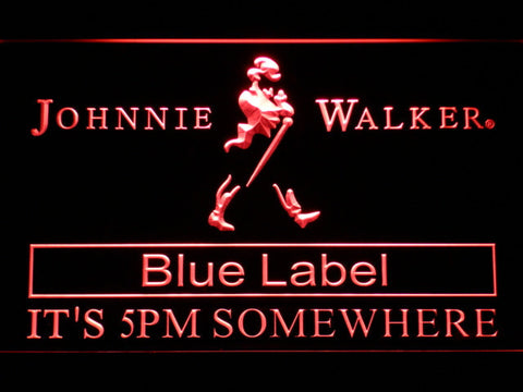 Image of Johnnie Walker Blue Label It's 5pm Somewhere LED Neon Sign - Red - SafeSpecial