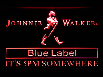Johnnie Walker Blue Label It's 5pm Somewhere LED Neon Sign - Red - SafeSpecial