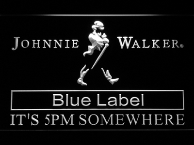 Johnnie Walker Blue Label It's 5pm Somewhere LED Neon Sign - White - SafeSpecial