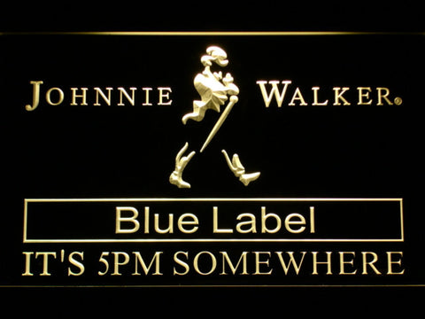 Image of Johnnie Walker Blue Label It's 5pm Somewhere LED Neon Sign - Yellow - SafeSpecial