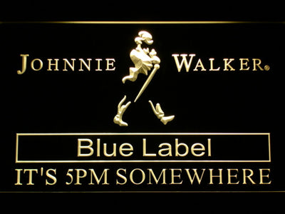 Johnnie Walker Blue Label It's 5pm Somewhere LED Neon Sign - Yellow - SafeSpecial