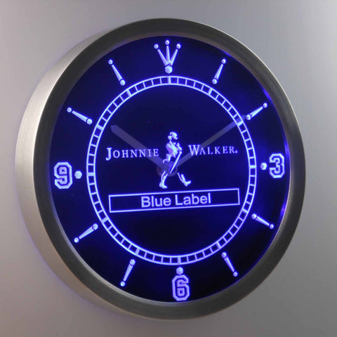 Johnnie Walker Blue Label LED Neon Wall Clock - Blue - SafeSpecial