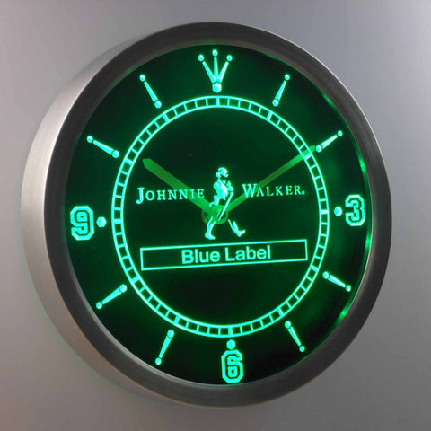 Johnnie Walker Blue Label LED Neon Wall Clock - Green - SafeSpecial