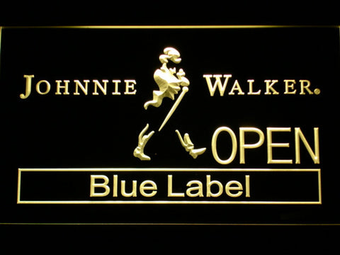 Johnnie Walker Blue Label Open LED Neon Sign - Yellow - SafeSpecial