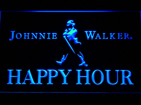 Image of Johnnie Walker Happy Hour LED Neon Sign - Blue - SafeSpecial
