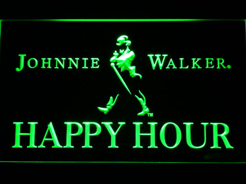 Image of Johnnie Walker Happy Hour LED Neon Sign - Green - SafeSpecial