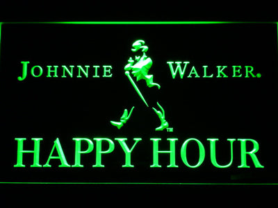 Johnnie Walker Happy Hour LED Neon Sign - Green - SafeSpecial