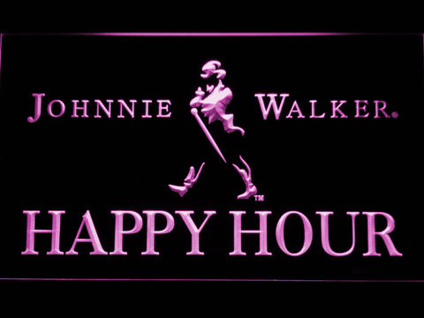 Image of Johnnie Walker Happy Hour LED Neon Sign - Purple - SafeSpecial