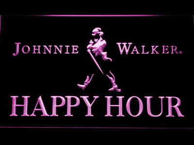 Johnnie Walker Happy Hour LED Neon Sign - Purple - SafeSpecial