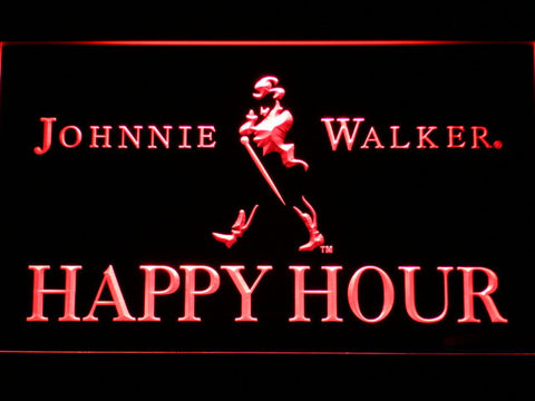 Image of Johnnie Walker Happy Hour LED Neon Sign - Red - SafeSpecial