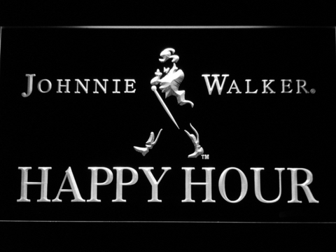 Image of Johnnie Walker Happy Hour LED Neon Sign - White - SafeSpecial