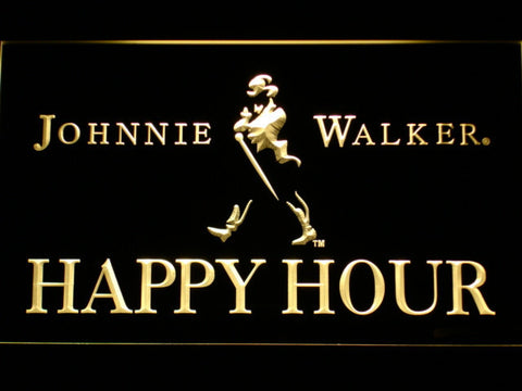 Image of Johnnie Walker Happy Hour LED Neon Sign - Yellow - SafeSpecial
