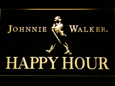 Johnnie Walker Happy Hour LED Neon Sign - Yellow - SafeSpecial