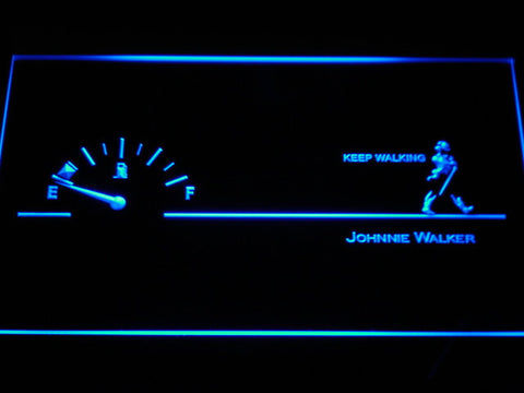 Image of Johnnie Walker Keep Walking Fuel Gauge LED Neon Sign - Blue - SafeSpecial