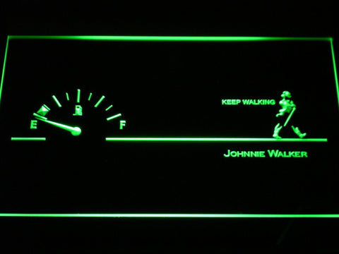 Image of Johnnie Walker Keep Walking Fuel Gauge LED Neon Sign - Green - SafeSpecial
