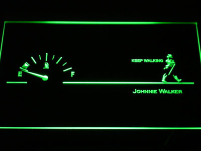 Johnnie Walker Keep Walking Fuel Gauge LED Neon Sign - Green - SafeSpecial