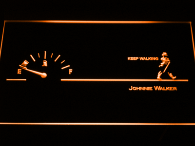 Johnnie Walker Keep Walking Fuel Gauge LED Neon Sign - Orange - SafeSpecial
