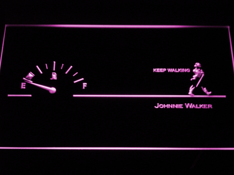Image of Johnnie Walker Keep Walking Fuel Gauge LED Neon Sign - Purple - SafeSpecial