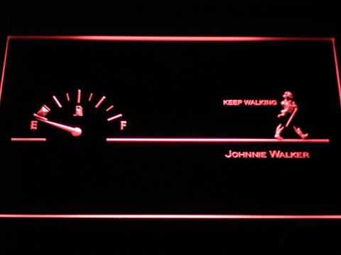 Image of Johnnie Walker Keep Walking Fuel Gauge LED Neon Sign - Red - SafeSpecial