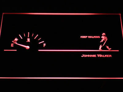 Johnnie Walker Keep Walking Fuel Gauge LED Neon Sign - Red - SafeSpecial