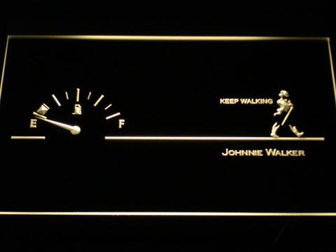 Image of Johnnie Walker Keep Walking Fuel Gauge LED Neon Sign - Yellow - SafeSpecial