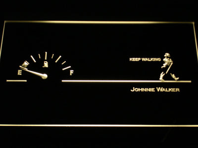 Johnnie Walker Keep Walking Fuel Gauge LED Neon Sign - Yellow - SafeSpecial
