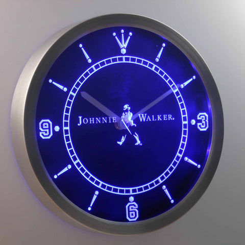 Image of Johnnie Walker LED Neon Wall Clock - Blue - SafeSpecial