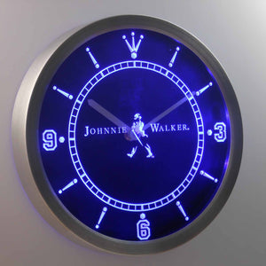 Johnnie Walker LED Neon Wall Clock - Blue - SafeSpecial