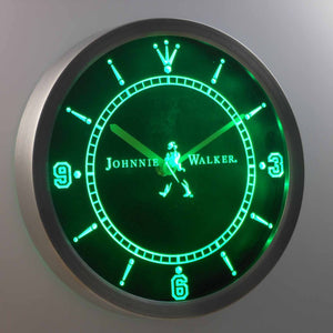Johnnie Walker LED Neon Wall Clock - Green - SafeSpecial