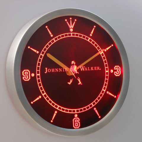 Image of Johnnie Walker LED Neon Wall Clock - Red - SafeSpecial