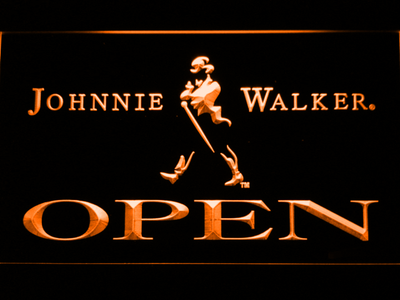 Johnnie Walker Open LED Neon Sign - Orange - SafeSpecial