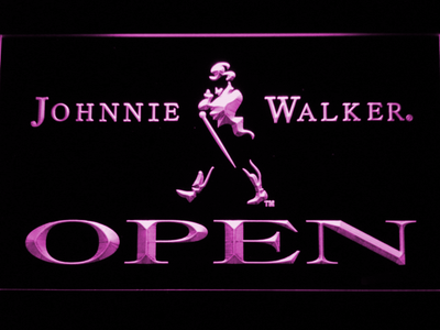 Johnnie Walker Open LED Neon Sign - Purple - SafeSpecial