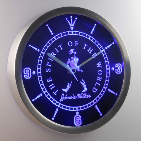 Image of Johnnie Walker The Spirit of The World LED Neon Wall Clock - Blue - SafeSpecial