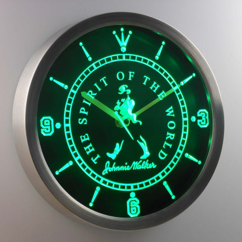 Image of Johnnie Walker The Spirit of The World LED Neon Wall Clock - Green - SafeSpecial