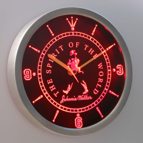 Image of Johnnie Walker The Spirit of The World LED Neon Wall Clock - Red - SafeSpecial