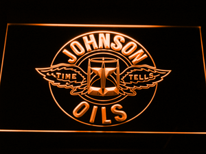 Johnson Motor Oils LED Neon Sign - Orange - SafeSpecial