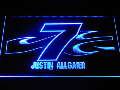 Image of Justin Allgaier 7 LED Neon Sign - Blue - SafeSpecial