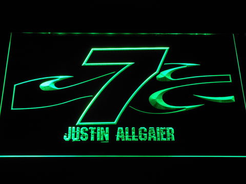 Image of Justin Allgaier 7 LED Neon Sign - Green - SafeSpecial