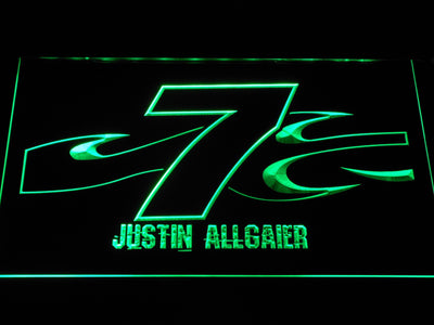 Justin Allgaier 7 LED Neon Sign - Green - SafeSpecial