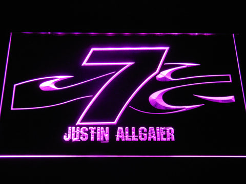 Image of Justin Allgaier 7 LED Neon Sign - Purple - SafeSpecial