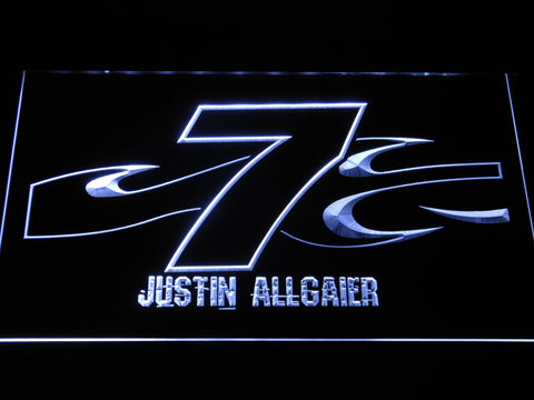 Image of Justin Allgaier 7 LED Neon Sign - White - SafeSpecial