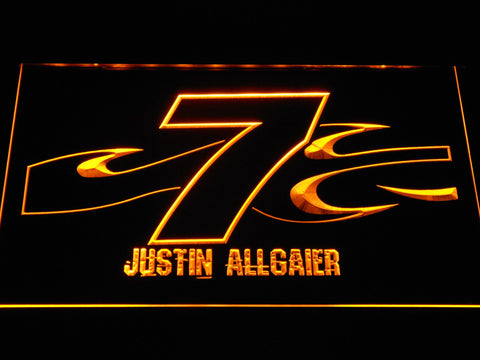 Image of Justin Allgaier 7 LED Neon Sign - Yellow - SafeSpecial