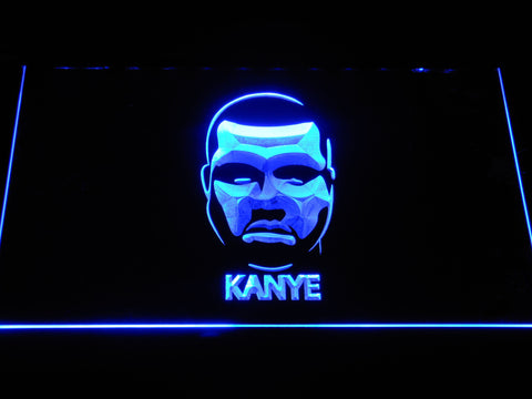 Kanye West Face LED Neon Sign - Blue - SafeSpecial