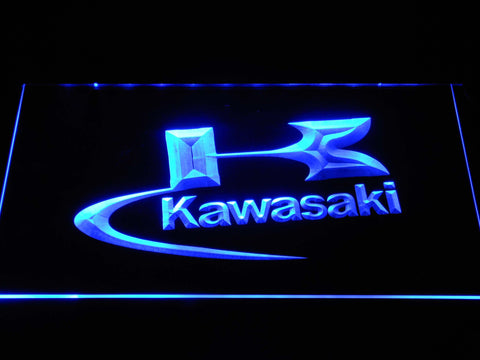 Image of Kawasaki Logo LED Neon Sign - Blue - SafeSpecial