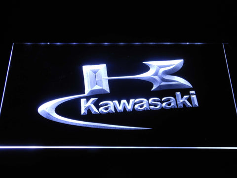 Image of Kawasaki Logo LED Neon Sign - White - SafeSpecial