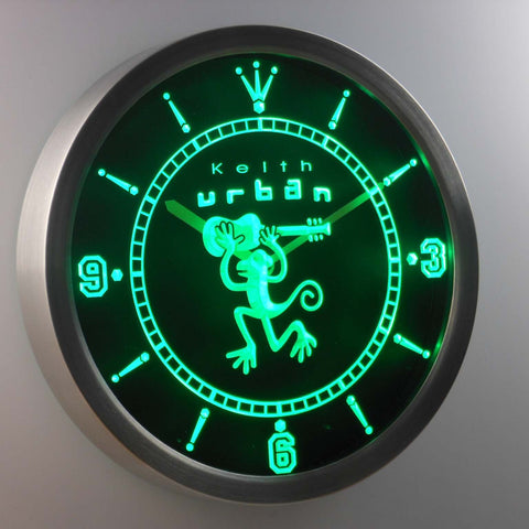 Image of Keith Urban LED Neon Wall Clock - Green - SafeSpecial