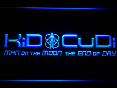 Kid Cudi Man On The Moon LED Neon Sign - Blue - SafeSpecial