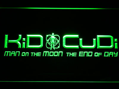 Kid Cudi Man On The Moon LED Neon Sign - Green - SafeSpecial