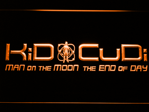 Image of Kid Cudi Man On The Moon LED Neon Sign - Orange - SafeSpecial