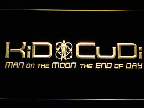 Image of Kid Cudi Man On The Moon LED Neon Sign - Yellow - SafeSpecial